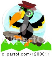 Cartoon Of A Skateboarding Toucan Royalty Free Vector Clipart by bpearth