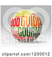 Clipart Of A 3d Food Word Collage Sphere Over Gray Royalty Free CGI Illustration