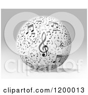 Clipart Of A 3d Sphere With Music Notes Over Gray Royalty Free CGI Illustration