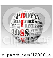Clipart Of A 3d Sphere With Financial Risk Words Over Gray Royalty Free CGI Illustration