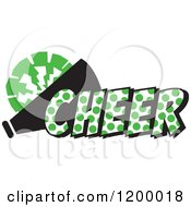 Clipart Of A Kelly Green Polka Dot CHEER With A Bullhorn And Pom Pom Royalty Free Vector Illustration