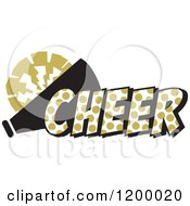 Clipart Of A Vegas Gold Polka Dot CHEER With A Bullhorn And Pom Pom Royalty Free Vector Illustration