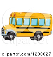 Cartoon Of A Cute Yellow School Bus Royalty Free Vector Clipart