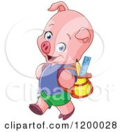 Cartoon Of A Cute Pig Student Walking To School Royalty Free Vector Clipart