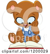 Cartoon Of A Cute Teddy Bear Sitting And Reading A Book Royalty Free Vector Clipart