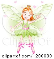 Cartoon Of A Happy Dancing Fairy Ballerina With Red Hair And Hearts Over Green Royalty Free Vector Clipart