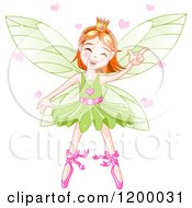 Cartoon Of A Happy Dancing Fairy Ballerina With Red Hair A Green Tutu And Hearts Royalty Free Vector Clipart