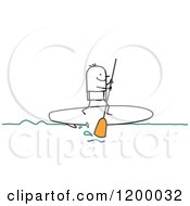 Clipart Of A Stick Man Paddle Boarding Royalty Free Vector Illustration