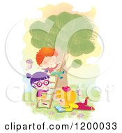 Cartoon Of Children Playing On A Tree Ladder And Reading Outdoors Royalty Free Vector Clipart by Alexia Lougiaki
