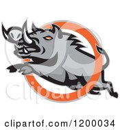 Clipart Of A Mad Angry Razorback Boar Leaping Through A Ring Royalty Free Vector Illustration