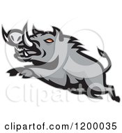 Clipart Of A Mad Angry Razorback Boar Leaping Royalty Free Vector Illustration