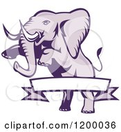 Clipart Of A Rearing Elephant And A Ribbon Banner Royalty Free Vector Illustration