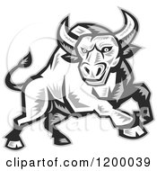 Grayscale Woodcut Charging Angry Bull
