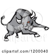 Clipart Of A Charging Red Eyed Angry Gray Bull Royalty Free Vector Illustration