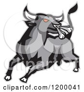 Clipart Of A Charging And Snorting Red Eyed Angry Gray Bull Royalty Free Vector Illustration