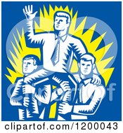 Clipart Of A Retro Woodcut Businessman Waving And Being Carried By Colleagues On Blue Royalty Free Vector Illustration
