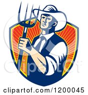Clipart Of A Retro Cowboy Farmer Holding A Pitchfork Over A Shield Of Rays Royalty Free Vector Illustration