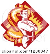 Clipart Of A Retro Woodcut Businessman With Folded Arms Over A Dollar Symbol And Diamond Royalty Free Vector Illustration