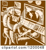 Clipart Of A Command Center Control Room With Two Male Operators In Brown Woodcut Royalty Free Vector Illustration