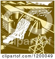 Clipart Of A Retro Hydroelectric Dam In Woodcut Royalty Free Vector Illustration