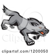 Clipart Of A Retro Stalking Red Eyed Gray Wolf Royalty Free Vector Illustration