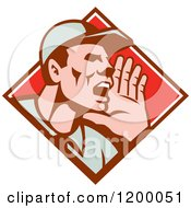 Clipart Of A Retro Worker Holding Up His Hand And Shouting In A Diamond Royalty Free Vector Illustration