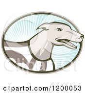 Clipart Of A Retro Racing Greyhound Dog In An Oval Of Rays On Blue Royalty Free Vector Illustration