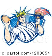 Clipart Of A Retro Statue Of Liberty Holding A Football And Torch Over A Shield Royalty Free Vector Illustration