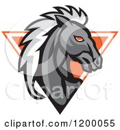 Clipart Of A Retro Gray Horse Head Over An Orange Triangle Royalty Free Vector Illustration by patrimonio