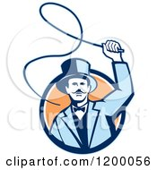 Retro Circus Ring Master Man Cracking A Whip Over A Circle