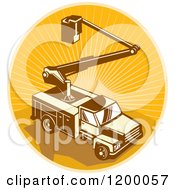 Clipart Of A Retro Bucket Truck Over An Oval Of Rays Royalty Free Vector Illustration by patrimonio
