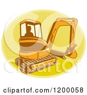 Silhouetted Worker Operating A Digger Excavator Machine Over A Yellow Oval Of Rays