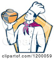 Clipart Of A Retro Chef Baker Holding A Pot Over A Hexagon Of Rays Royalty Free Vector Illustration