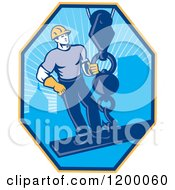 Clipart Of A Retro Construction Worker On A Girder Being Hoisted In A Hexagon Royalty Free Vector Illustration