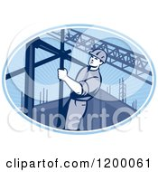 Clipart Of A Retro Construction Worker On Scaffolding In A Blue Oval Royalty Free Vector Illustration