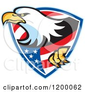Clipart Of A Retro Bald Eagle Climbing Through An American Shield Royalty Free Vector Illustration