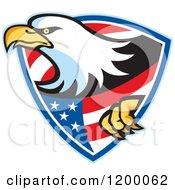 Clipart Of A Retro Bald Eagle Climbing Through An American Shield Royalty Free Vector Illustration by patrimonio