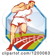 Retro Marathon Runner Man On A Track Over A Hexagon