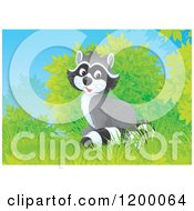 Cartoon Of A Cute Happy Raccoon Sitting Near Shrubs Royalty Free Vector Clipart by Alex Bannykh