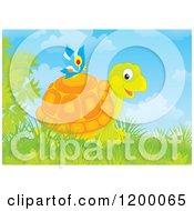 Cartoon Of A Butterfly On A Happy Tortoise Royalty Free Vector Clipart by Alex Bannykh