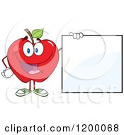 Cartoon Of A Happy Red Apple Mascot By A Sign Royalty Free Vector Clipart