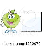 Happy Green Apple Mascot By A Sign by Hit Toon