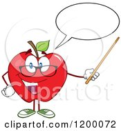 Cartoon Of A Talking Red Apple Teacher Mascot Using A Pointer Stick Royalty Free Vector Clipart