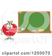 Cartoon Of A Red Apple Teacher Mascot Using A Pointer Stick By A Chalk Board Royalty Free Vector Clipart