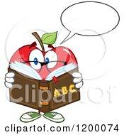 Cartoon Of A Talking Red Apple Teacher Mascot Reading An Alphabet Book Royalty Free Vector Clipart