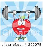 Cartoon Of A Happy Strong Red Apple Mascot Lifting A Barbell Over Blue Rays Royalty Free Vector Clipart