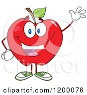 Friendly Red Apple Mascot Waving by Hit Toon
