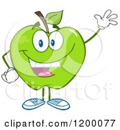 Cartoon Of A Friendly Green Apple Mascot Waving Royalty Free Vector Clipart by Hit Toon