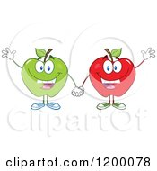 Cartoon Of Friendly Green And Red Apple Mascots Waving Royalty Free Vector Clipart