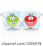 Cartoon Of Friendly Green And Red Apple Mascots Waving Over Blue Royalty Free Vector Clipart